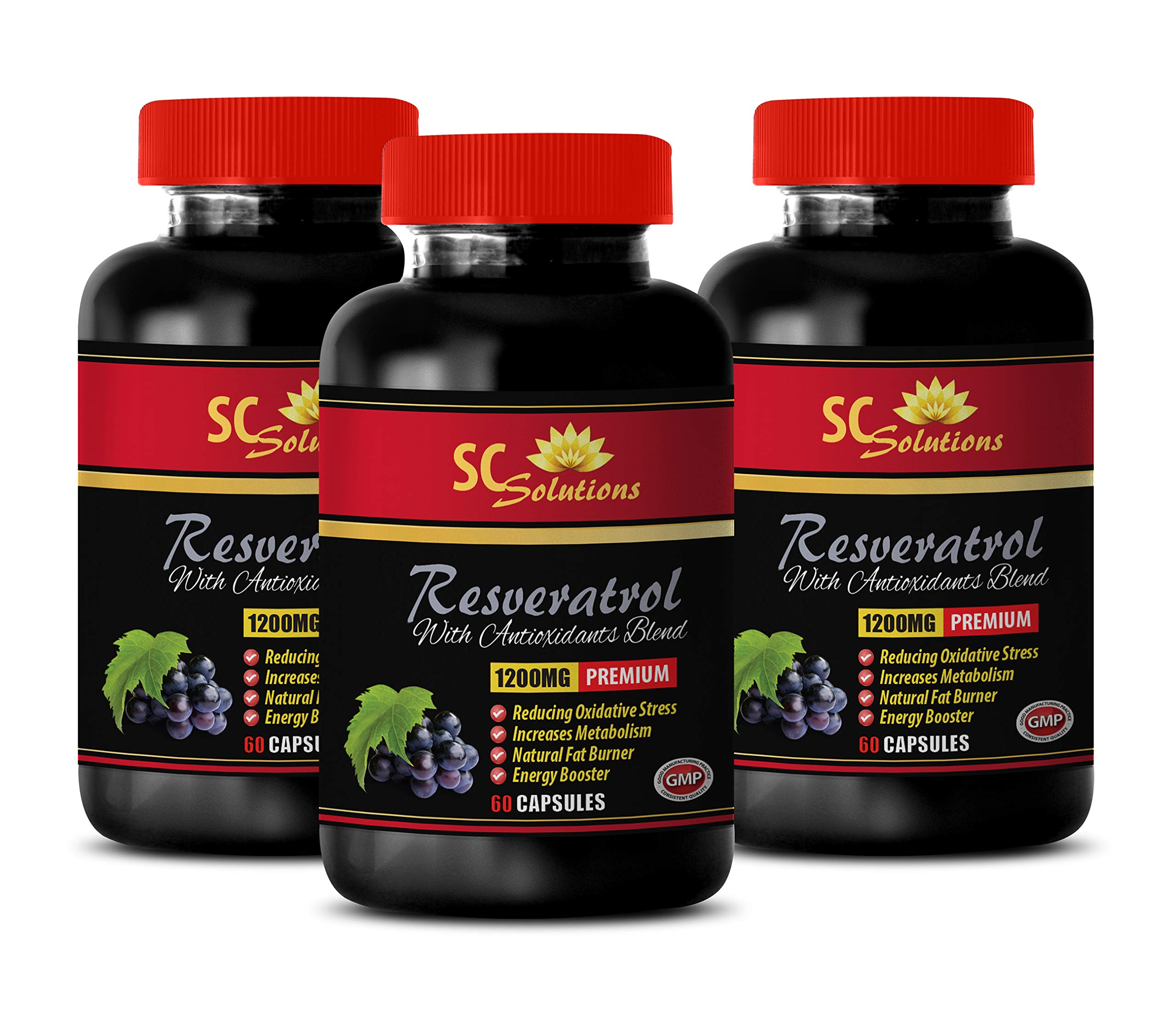 Heart Support Supplement - Pure RESVERATROL Supplement 1200 mg - Grape Seed Extract Powder - 3 Bottles 180 Capsules
