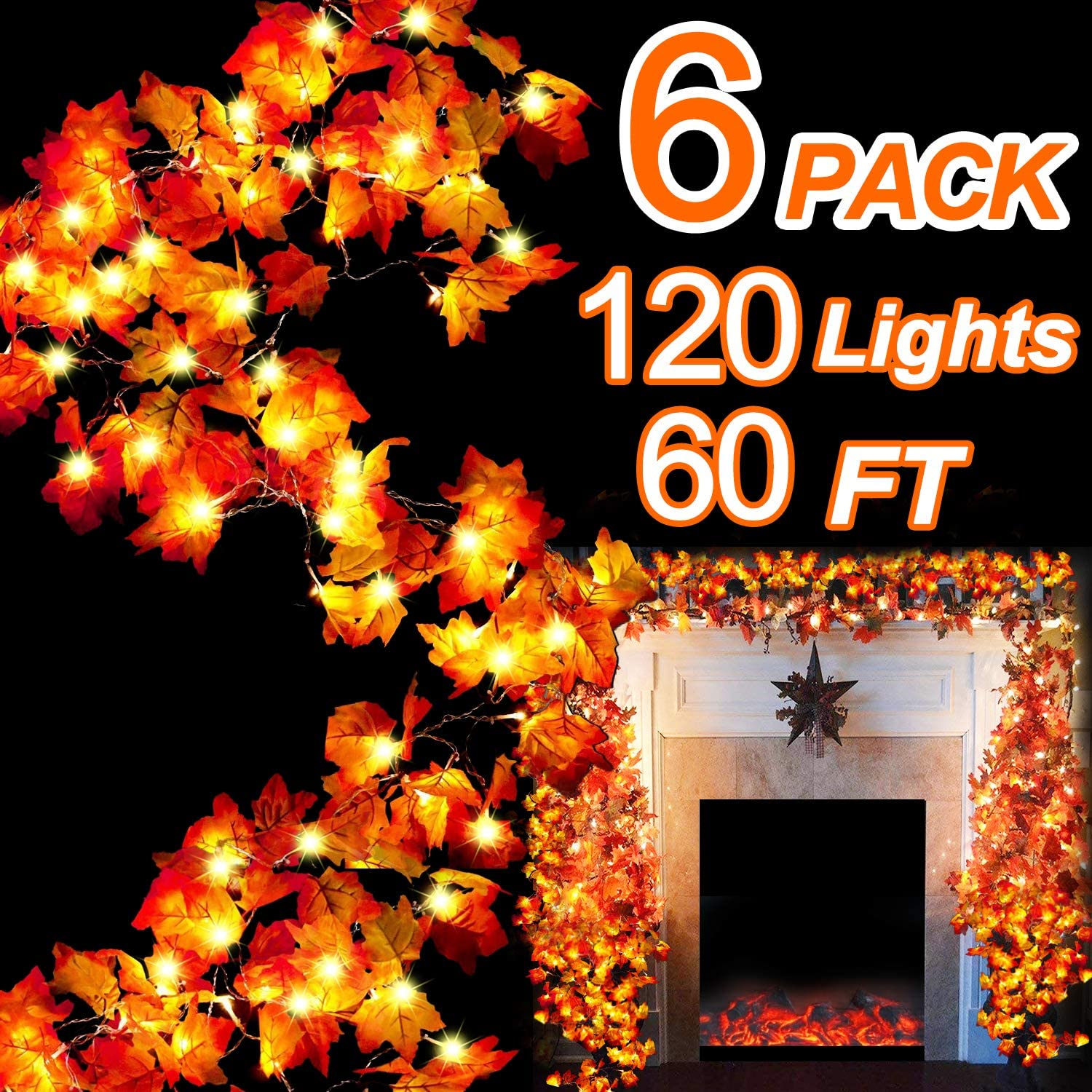 60Ft/120 LED Maple Leaves Garland String Light, Waterproof Fall Garland Lights for Indoor Outdoor Thanksgiving Decor Halloween Party Decorations Autumn Garland (A.6 Pack Maple Leaf Light G)