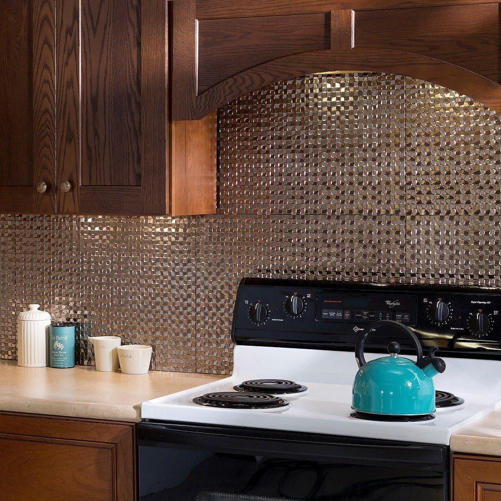 Fasade Easy Installation Terrain Brushed Nickel Backsplash Panel for Kitchen and Bathrooms (18'' x 24'' Panel) by Fasade (Image #2)