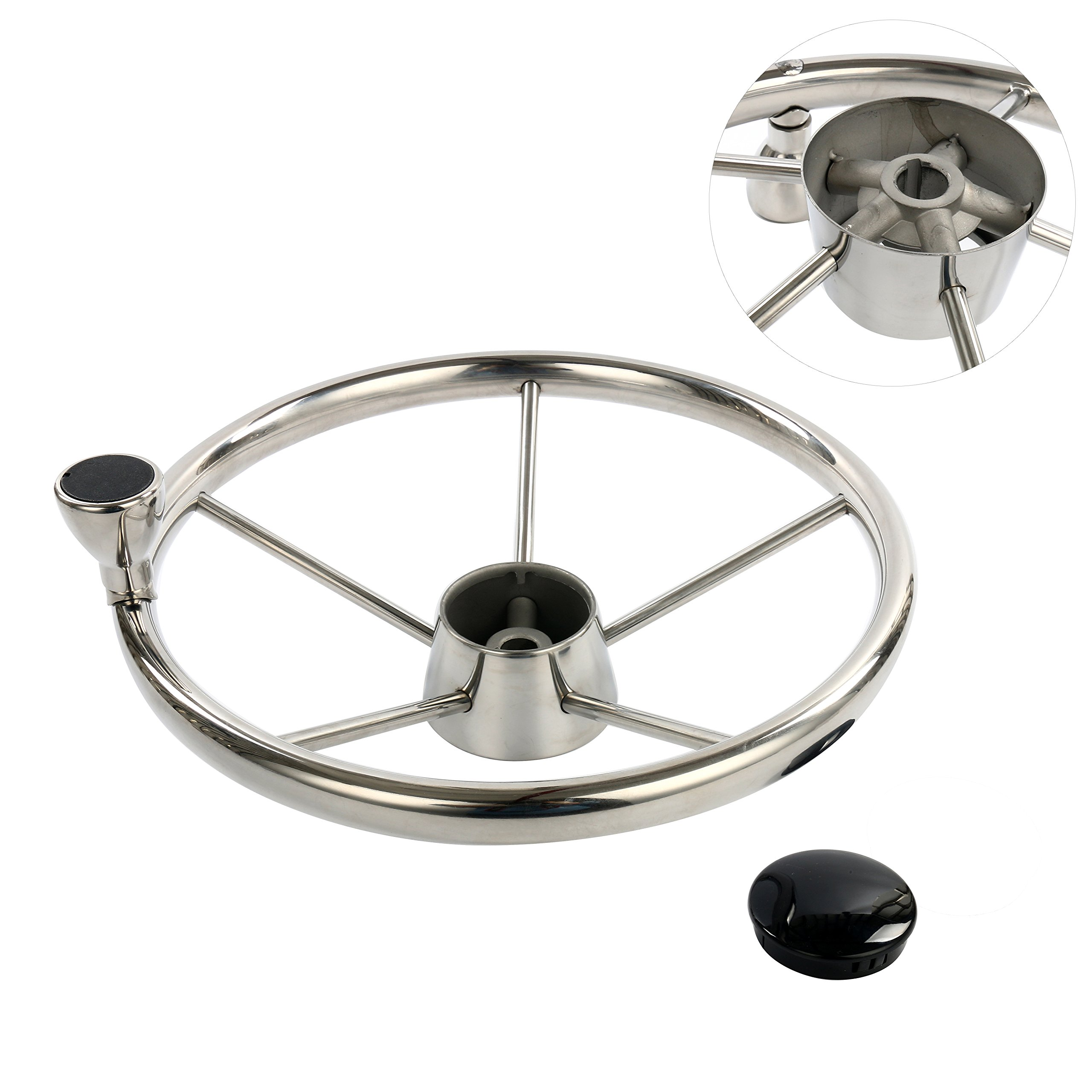 Amarine-made 5-spoke 13-1/2 Inch Destroyer Style Stainless Boat Steering Wheel with M Size Knob - 9310SRF1 by Amarine Made