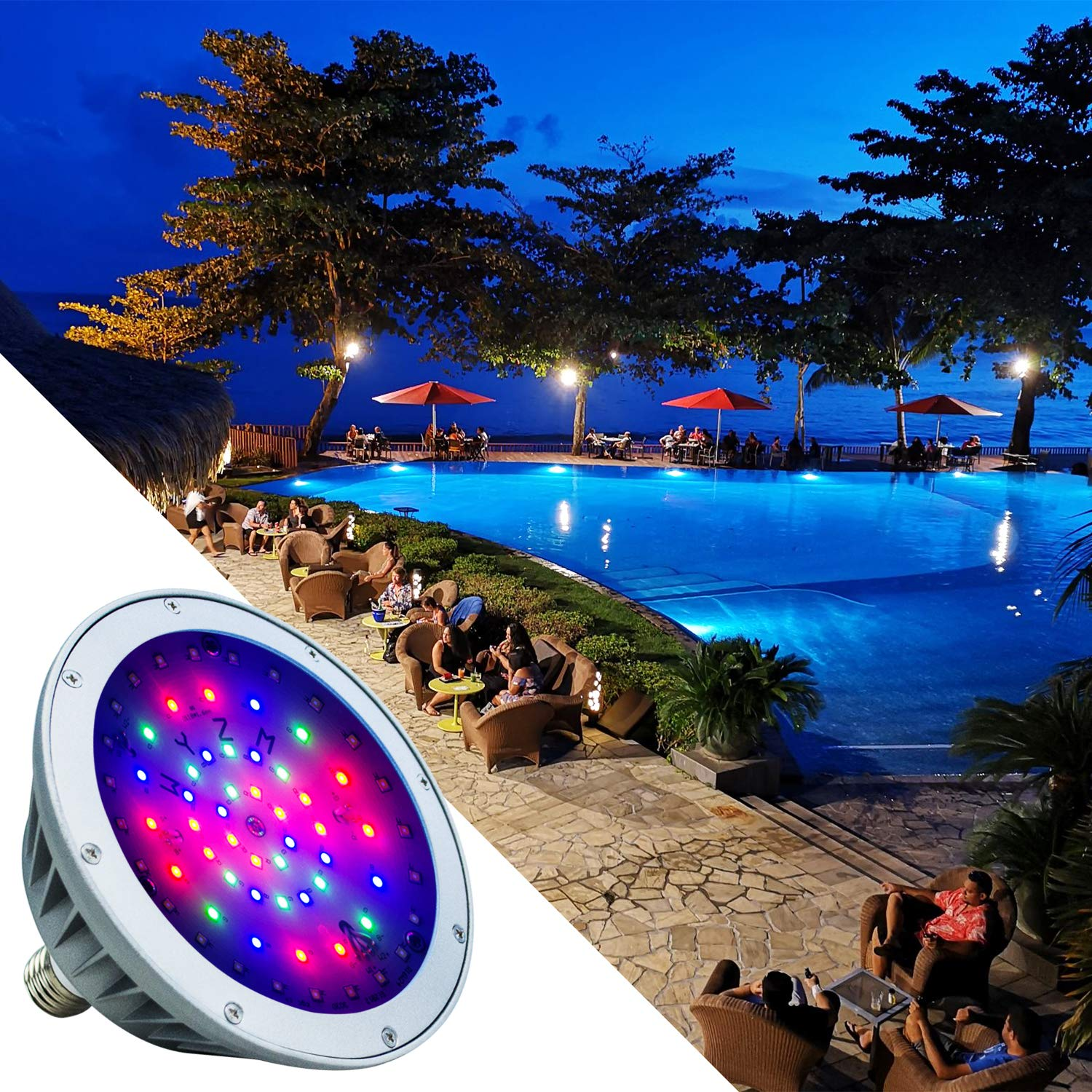 WYZM LED Pool Light Bulb for Inground Swimming Pool,120V 40Watt,IP66 Waterproof,Color Changing,Fit in for Pentair and Hayward Pool Light Fixtures(120V RGB+White) by WYZM (Image #7)
