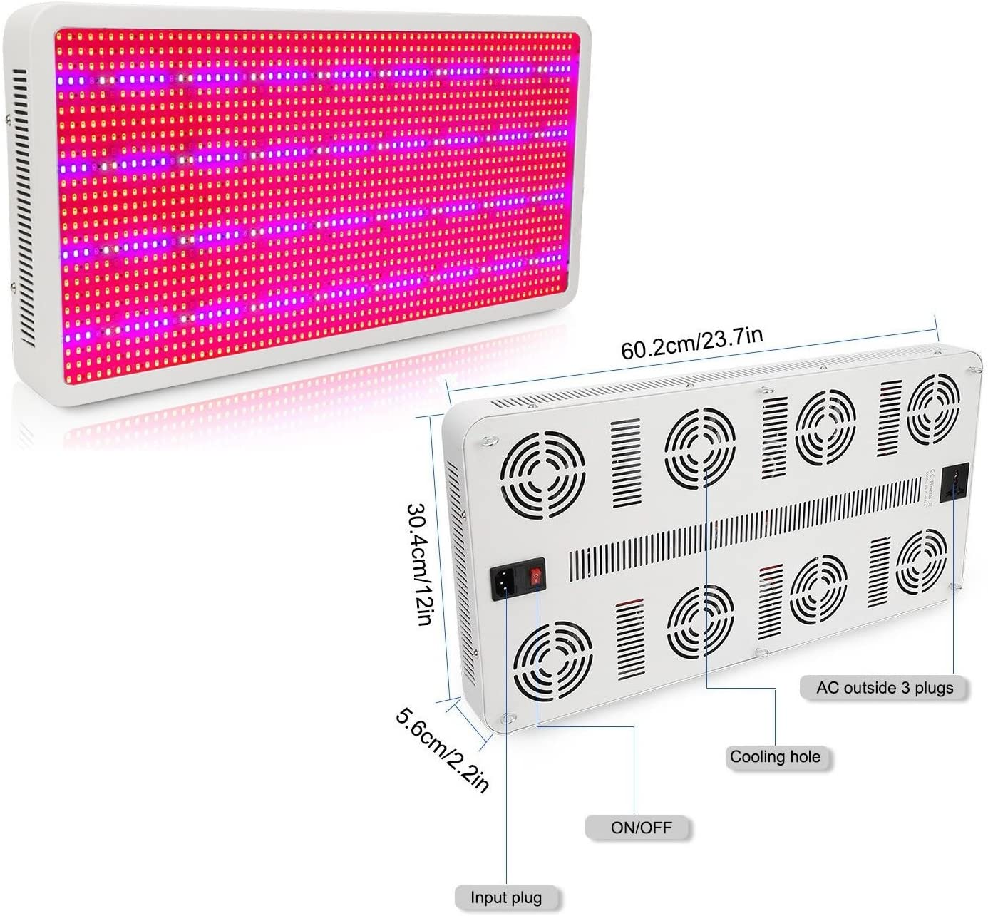 Full Spectrum 3000W LED Grow Light Panel w Built in Ventilation System for Indoor Hydroponic Cultivation