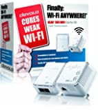 devolo dLAN 500 Wi-Fi Powerline Starter Kit (2 x PLC Homeplug Adapter, 1 x LAN Port, Wi-Fi Signal Booster, Wireless Range Extender, Wi-Fi Move, whole home wifi Power Save) - White