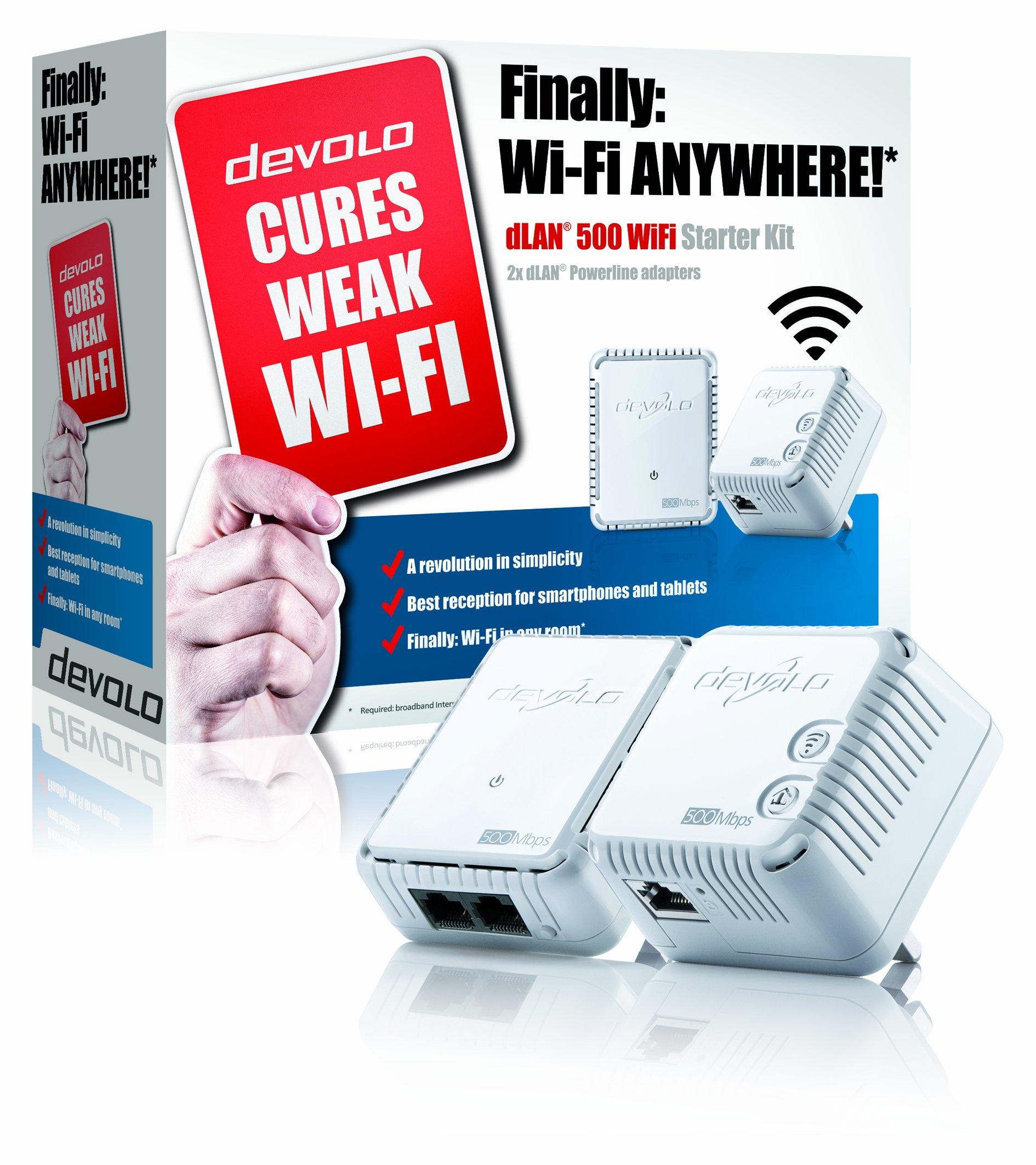 devolo dlan 500 wi fi powerline starter kit 500 mbps 2 x plc homeplug adapt ebay. Black Bedroom Furniture Sets. Home Design Ideas
