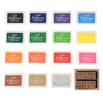 Stamp Ink Pads Set TopTops 15 Colors Craft Pad Stamps Partner For Paper Wood