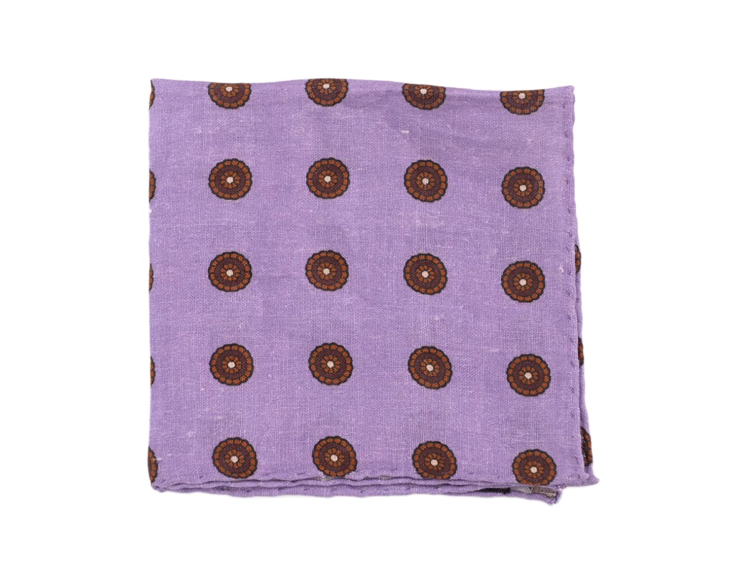 Cesare Attolini Purple Brown Circle Motif Linen Pocket Square Handmade In Italy