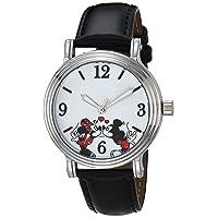 Women's Mickey Analog Quartz Watch with Patent Leather Strap, Black, 18 (Model: WDS000899)