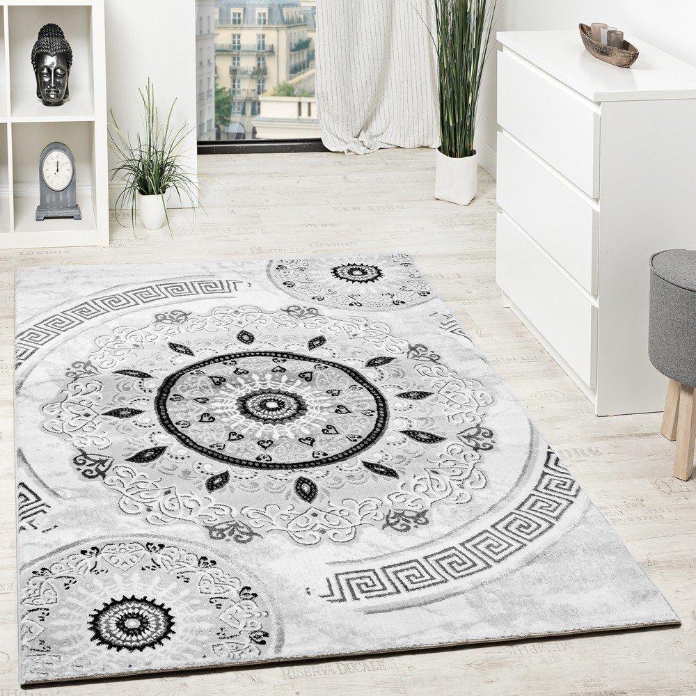Paco Home Designer Teppich Mit Glitzergarn Kurzflor Gemustert Grau Schwarz Anthrazit Weiß, Grösse 160x220 cm