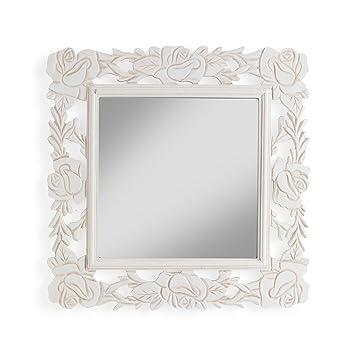 Montemaggi Miroir Mural Cadre Carré En Bois Blanc Antique Décoré