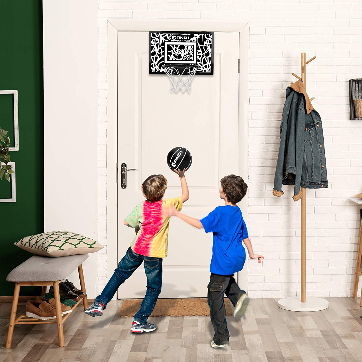 """AND1 Indoor Basketball Hoop 18/""""x12/"""" Mini Basketball Hoop Portable /& Easy to Install Game Set for Children /& Adults Over the Door"""