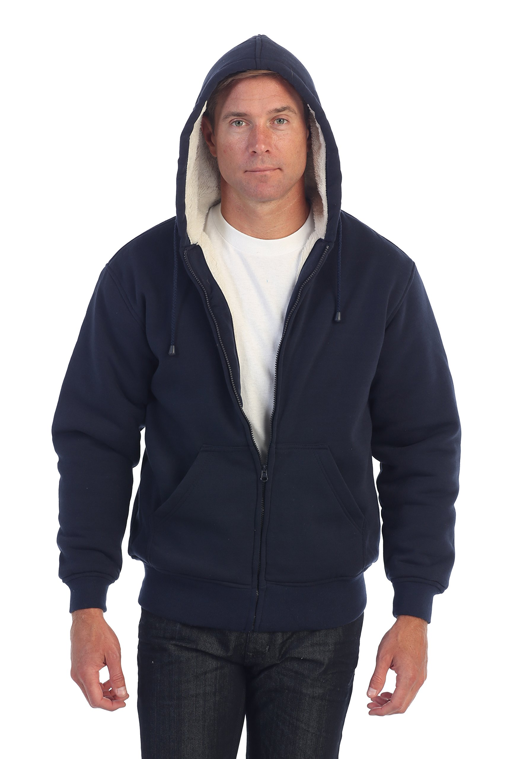 Gioberti Mens Sherpa Lined Pull Zip Fleece Hoodie Jacket, Navy, X Large by Gioberti