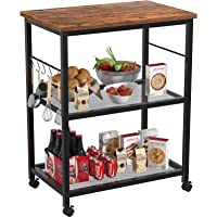 Topfurny Kitchen Baker's Rack, Microwave Cart, 3 Tier Utility Kitchen Serving Cart with Wheels, Microwave Oven Stand…