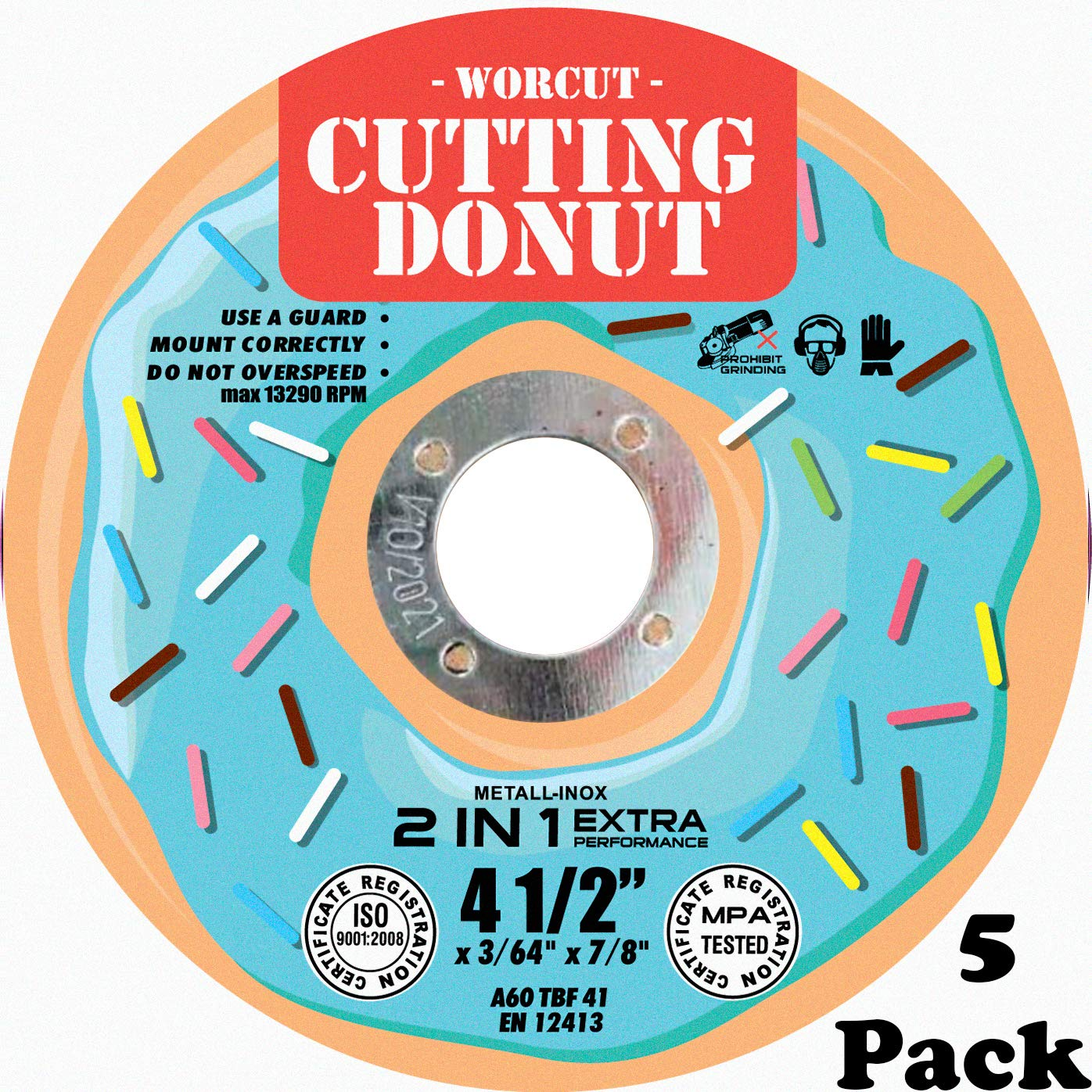 Disc for Aggressive Flush Cutting All Ferrous Metals and Stainless Steel INOX T41 Donut Design 5 Pack 4.5 Cut Off Wheels Set For Angle Grinder German Quality