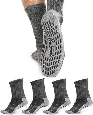 Non Skid Crew Socks - (4 Pairs) - Anti Slip Socks for Barre Yoga Pilates Maternity Pregnancy Hospital Adults Men Women