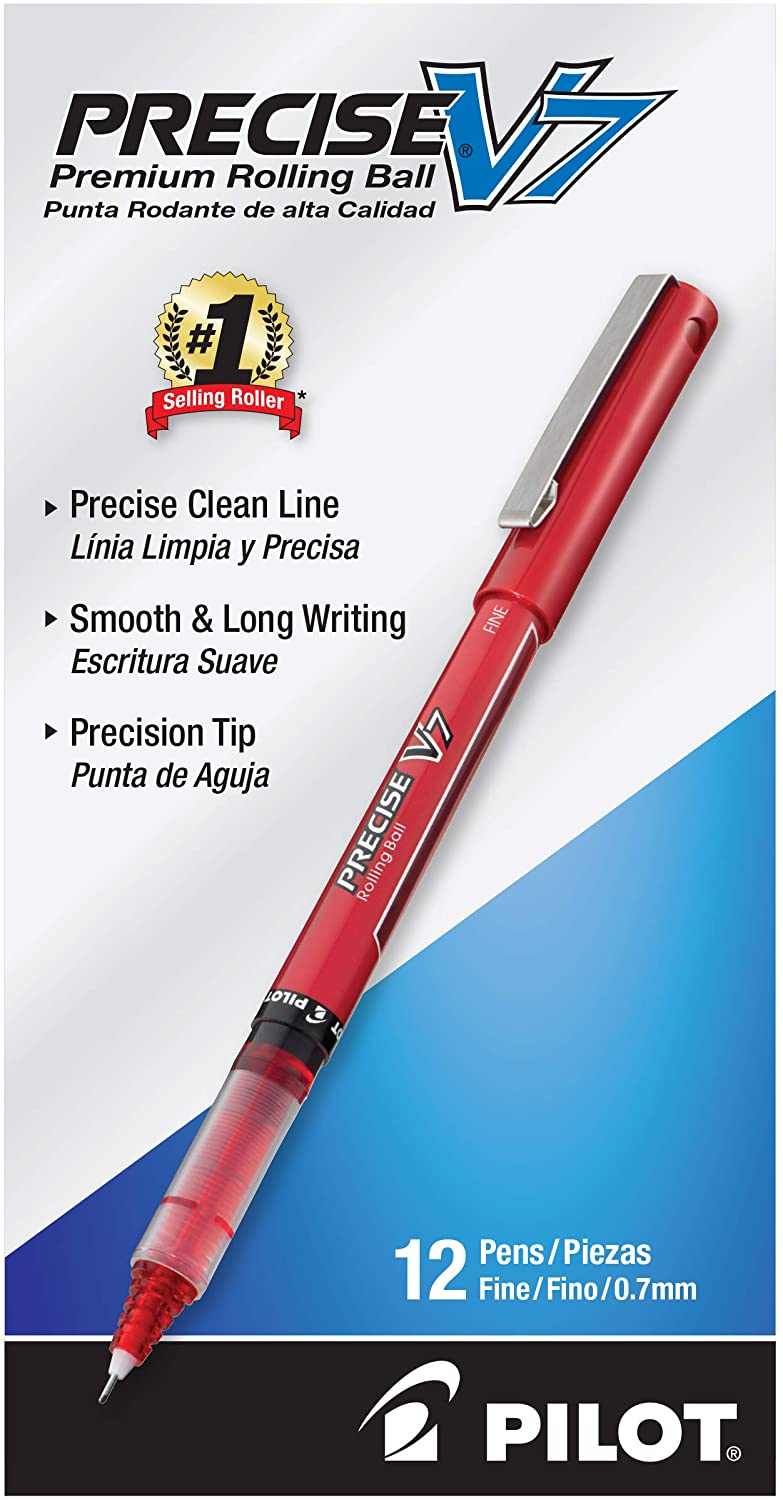 PILOT Precise V7 Stick Liquid Ink Rolling Ball Stick Pens, Fine Point (0.7mm) Red Ink, 12-Pack (35352) : Liquid Ink Rollerball Pens : Office Products
