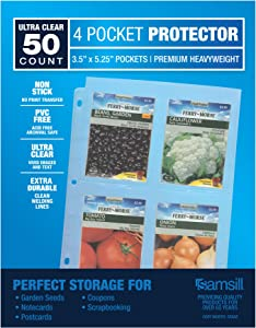 """Samsill 50 Pack 4 Pocket Clear Sheet Protectors, Card Protectors for Postcards, Index Cards, Couponing, and Garden Seeds - Each Pocket Measures 3.5"""" x 5.25"""", Fits in Standard 3 Ring Binder"""