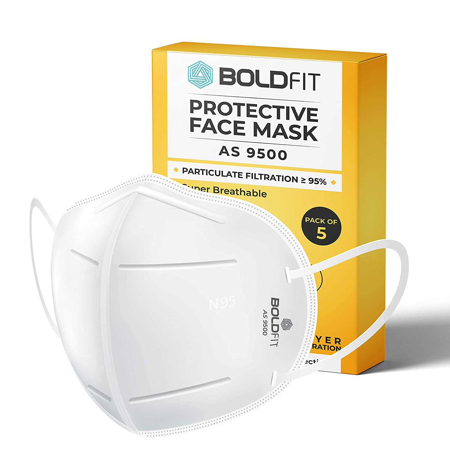 Boldfit N95 mask for face (Pack of 5) Anti Pollution, protective. Third Party Tested by manufacturer at SGS & Ministry of Textiles