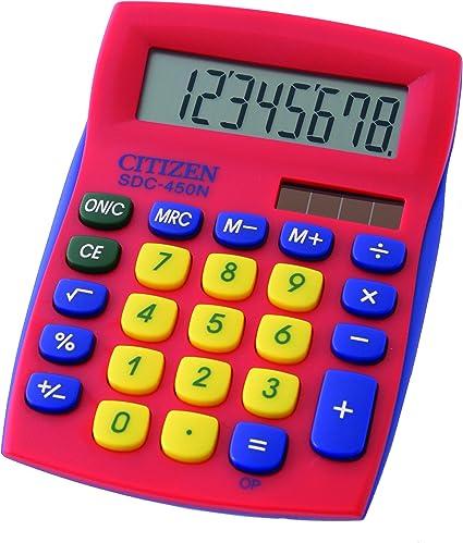 Citizen SDC 450 nrdcfs calculadora de mesa, tamaño pequeño, rojo ...