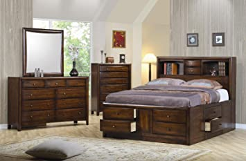 Coaster Queen Size Bookcase Chest Bed In Brown Finish