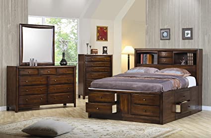 Hillary Queen Bookcase Bed With Underbed Storage Drawers Warm Brown