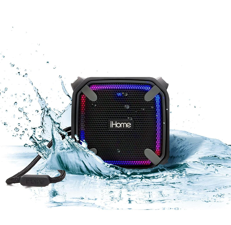 iHome iBT371Enceinte Bluetooth Portable avec Batterie Rechargeable et a Mené Les Lumières de Changement de Couleur