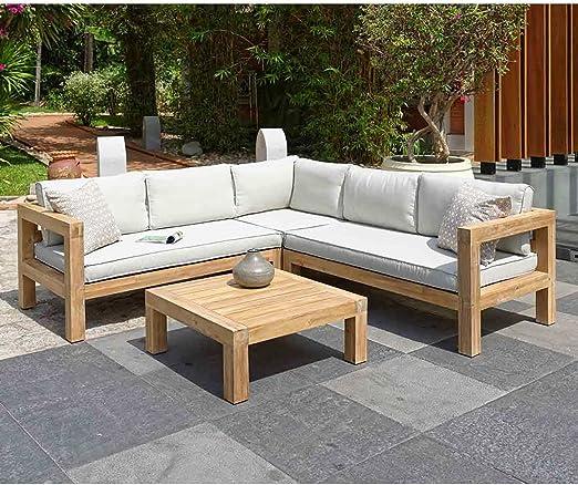 Muebles Madera outliv. Stockton Lounge esquina 4 piezas Acacia capitoné Lounge Grupo Modern Jardín Lounge resistente a la intemperie: Amazon.es: Jardín