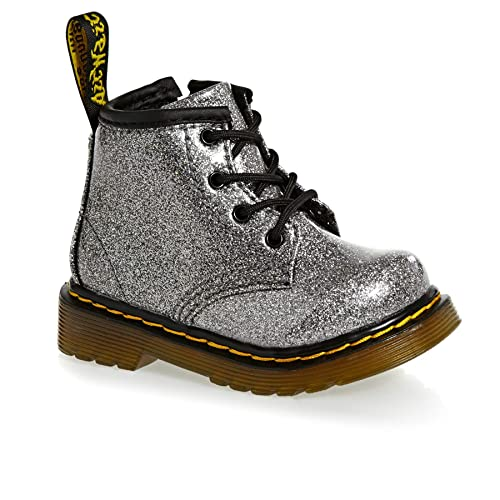 Girls Kids DR MARTENS 1460 Glitter Gunmetal Silver Side Zip Glitter Boots 24290029-UK 5