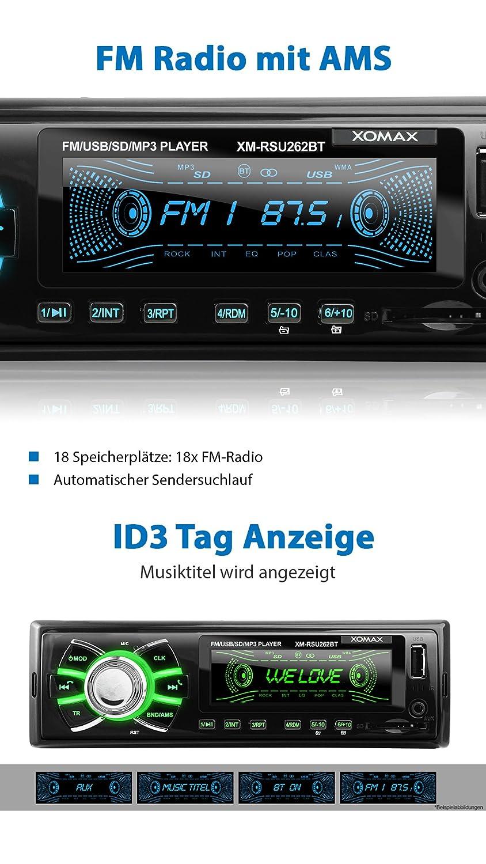 XOMAX XM-RSU262BT Autoradio mit Bluetooth-Freisprecheinrichtung 1 DIN 7 Farben einstellbar USB SD f/ür MP3 und WMA AUX-IN