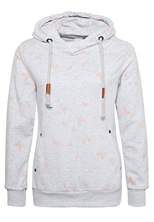 05d9f91584befa Sublevel Damen Sweathoodie mit Allover Print Schmetterlinge I Bequemer Kapuzenpullover  Hoodie mit Aufdruck Light-Grey
