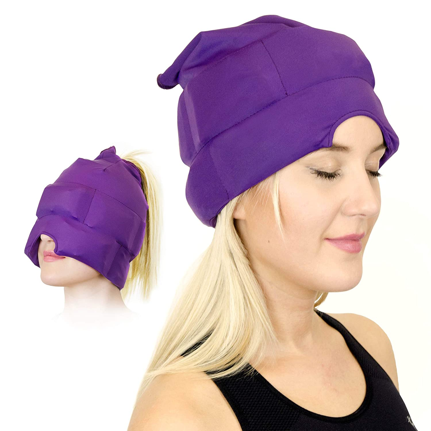 Headache and Migraine Relief Cap - A Headache Ice Mask or Hat used for Migraines and Tension Headache Relief. Stretchy, comfortable, Dark and Cool (by Magic Gel)