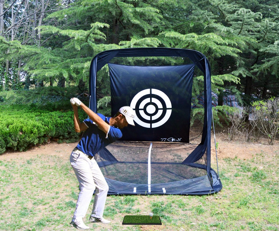 77tech Golf Practice Hitting Net Cage Automatic Ball Return System Tri-ball Golf Driving Chipping Net Training Aid with Target sheet and Two Side Barrier
