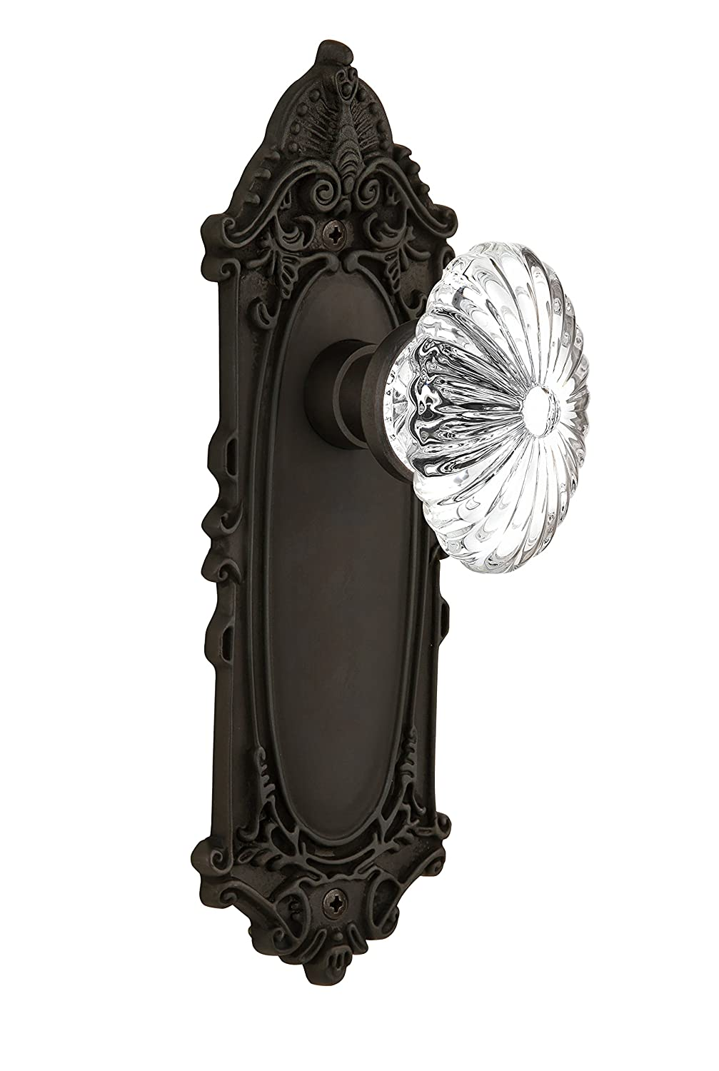 Privacy Nostalgic Warehouse Victorian Plate with Oval Fluted Crystal Glass Knob 2.375 712083 2.375 Antique Brass Privacy