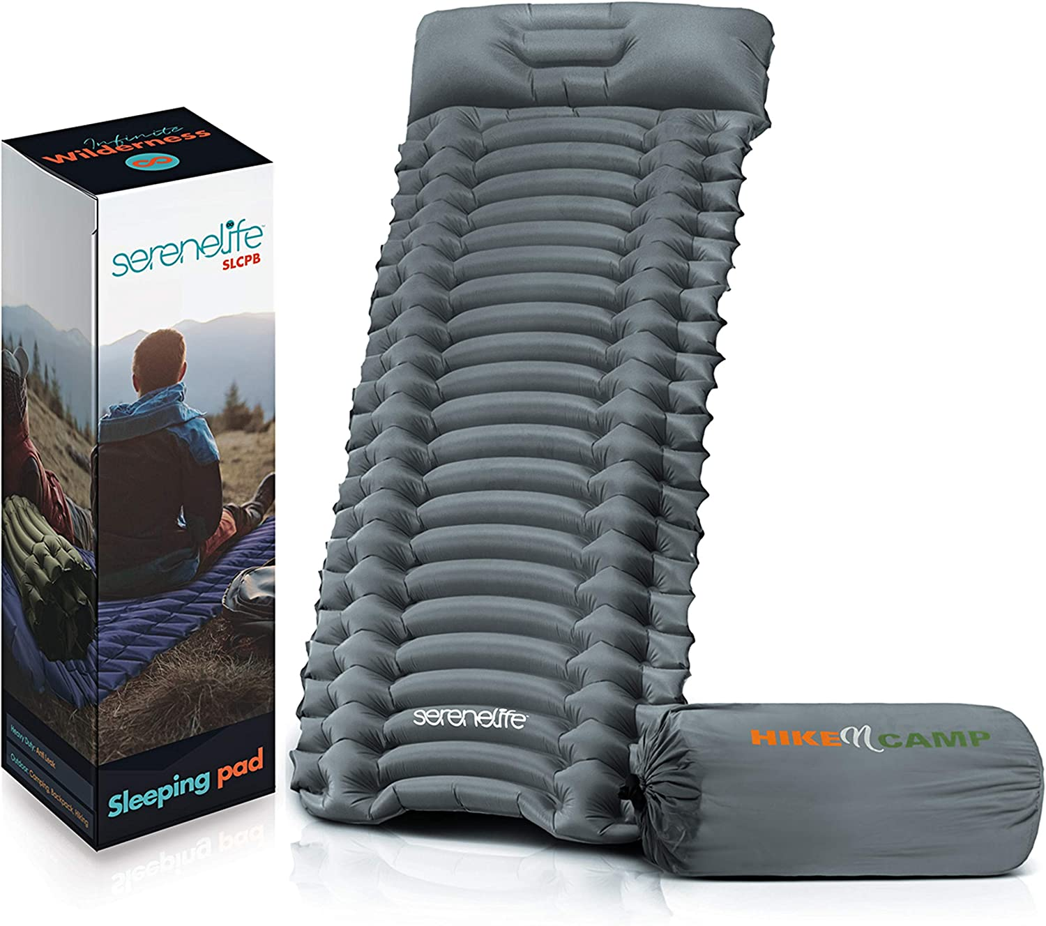 Backpacking Air Mattress Sleeping Pad - Self Inflating Waterproof Lightweight Sleep Pad Inflatable Camping Sleeping Mat w/Carrying Bag - for Camping, Backpacking, Hiking - Serenelife SLCPB (Blue)