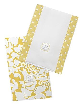 SwaddleDesigns Baby Burpies Yellow Safari Fun Set of 2 Cotton Burp Cloths