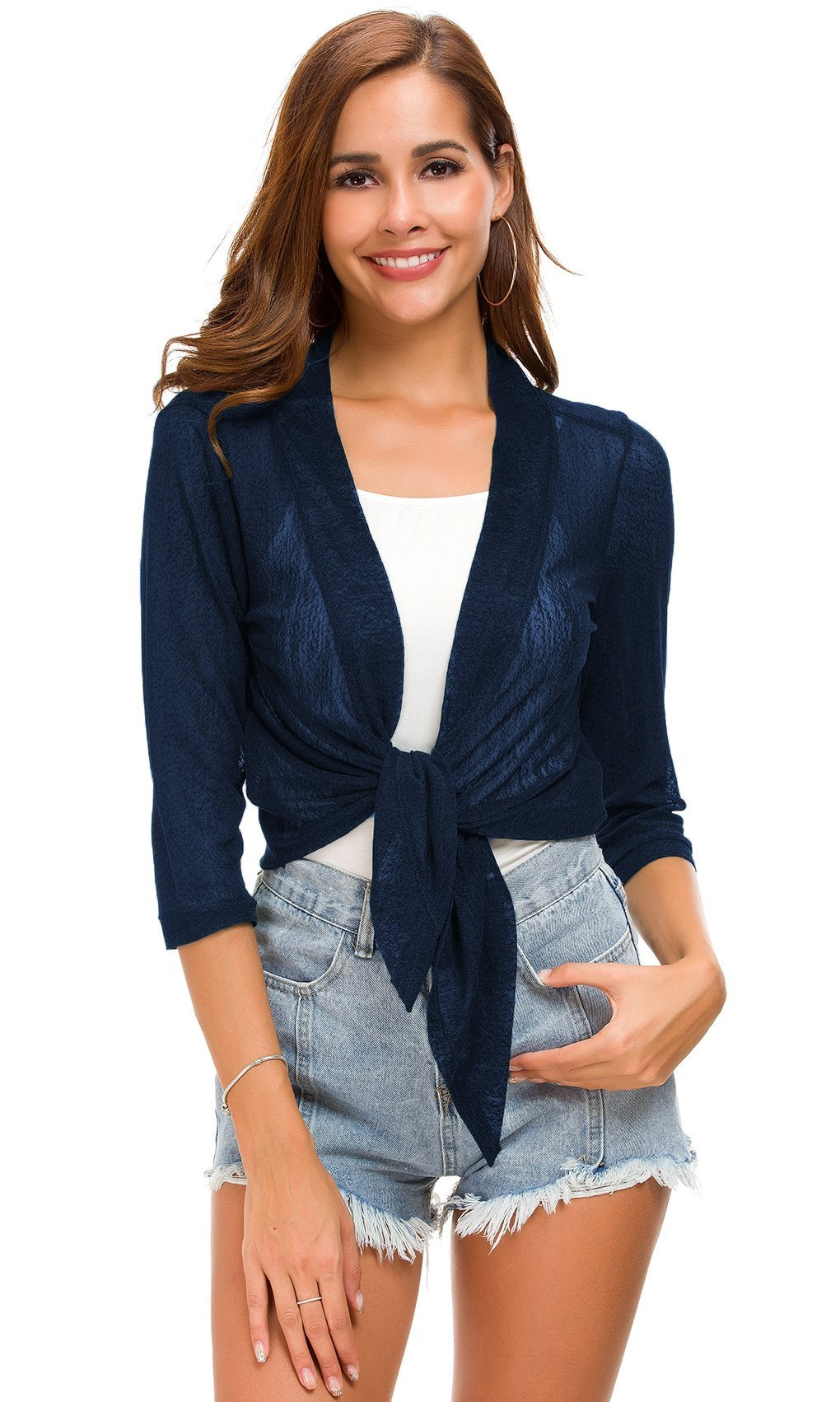 Tandisk Womens Tie Front 3/4 Sleeve Sheer Shrug Cropped Bolero Cardigan (M, Tie Front Navyblue)