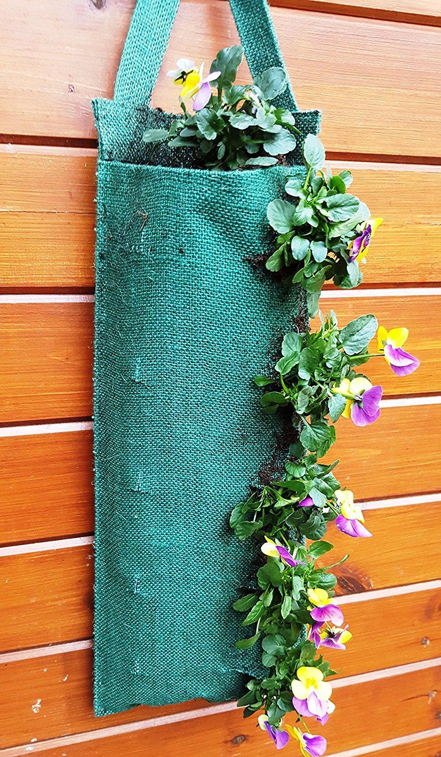2 x Jute Fabric Hanging Planter Grow Bag Plant Pouch - Tomato Herb Flower Strawberry Growing Bags S&MC Gardenware