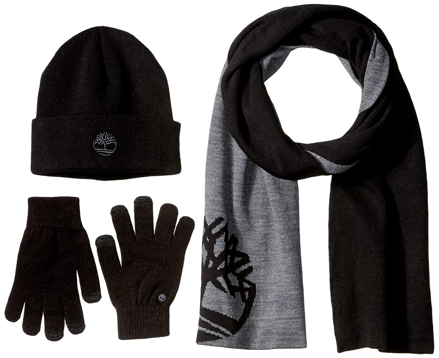 7385f4d49465a Timberland Men's Logo Scarf/Magic Glove with Embroidered TBL Tree  Logo/Watchcap, Black, One Size: Amazon.co.uk: Clothing