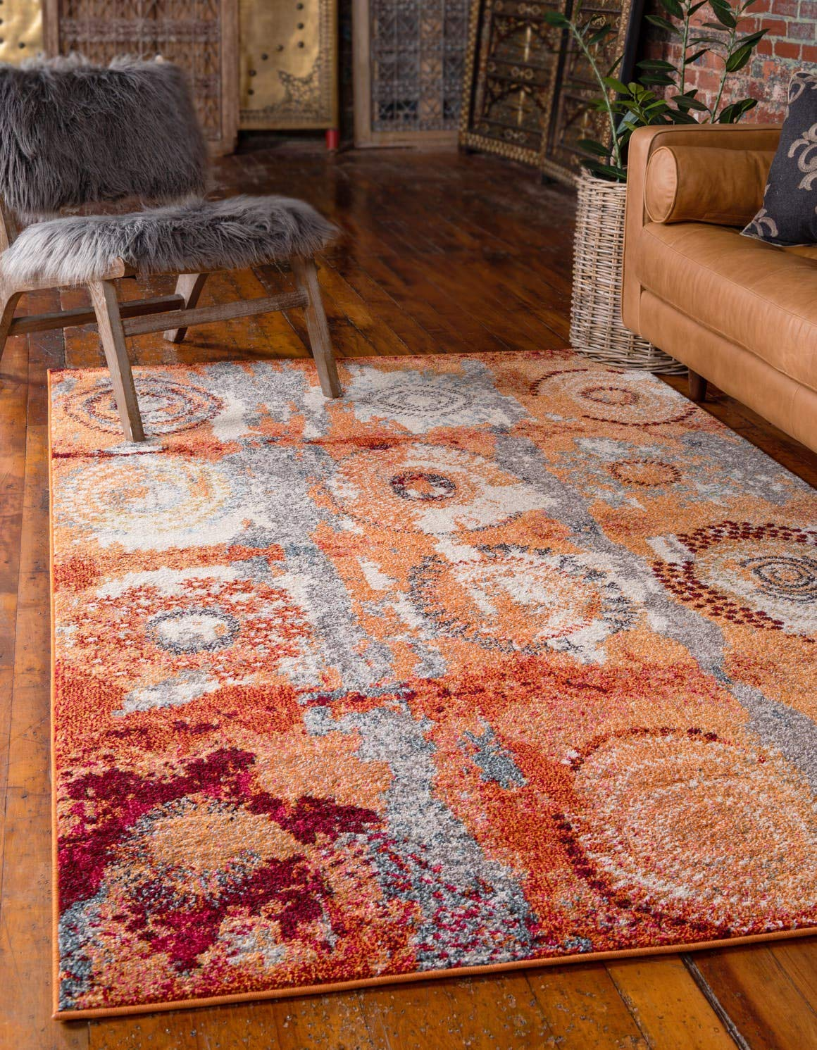 Unique Loom Estrella Collection Modern Abstract Orange Area Rug 3 3 x 5 3