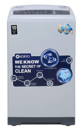 Koryo 6.2 kg Fully-Automatic Top Load Washing Machine (KWM6518TL, Silver) Washing Machines & Dryers at amazon