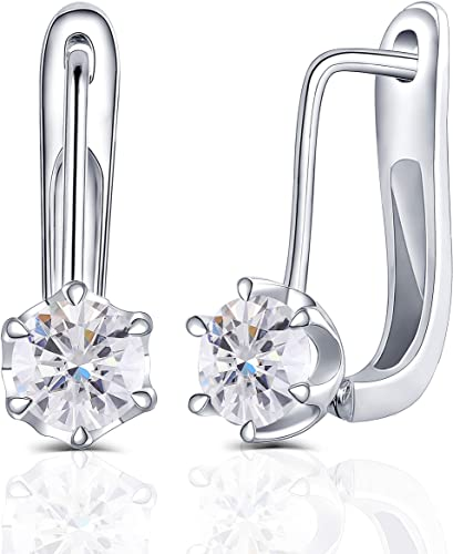 Pair of dainty sterling silver plated /& diamante solitaire dangle drop earrings