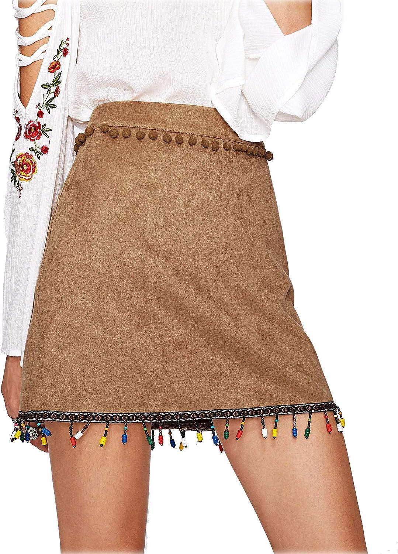 ROMWE - Falda - Casual - para mujer marrón Medium: Amazon.es: Ropa ...