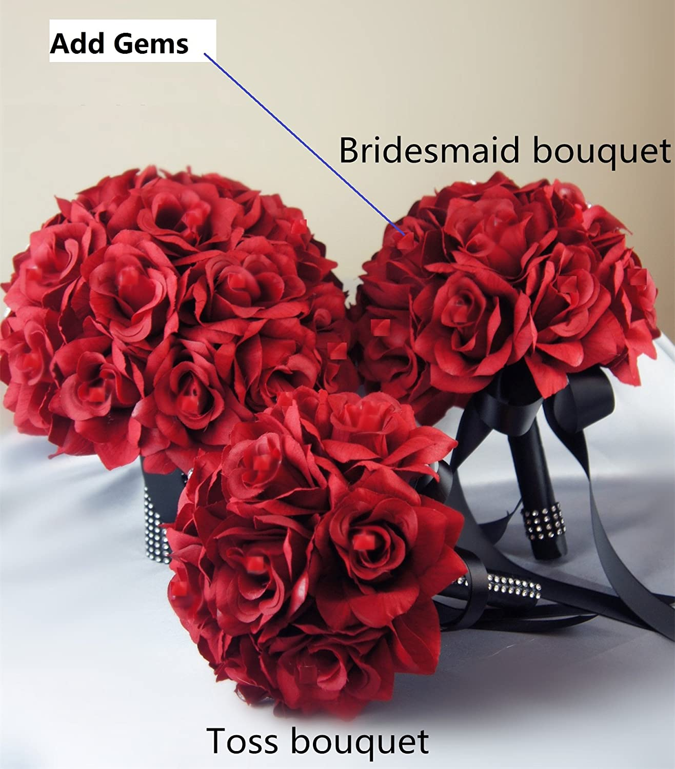 Amazon 13pc apple red with black ribbon wedding flowers package amazon 13pc apple red with black ribbon wedding flowers package bouquet boutonniere corsages home kitchen izmirmasajfo