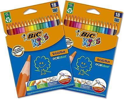 2 Pacchi d BIC Kids Evolution ECOlutions Matite per Colorare Colori Assortiti