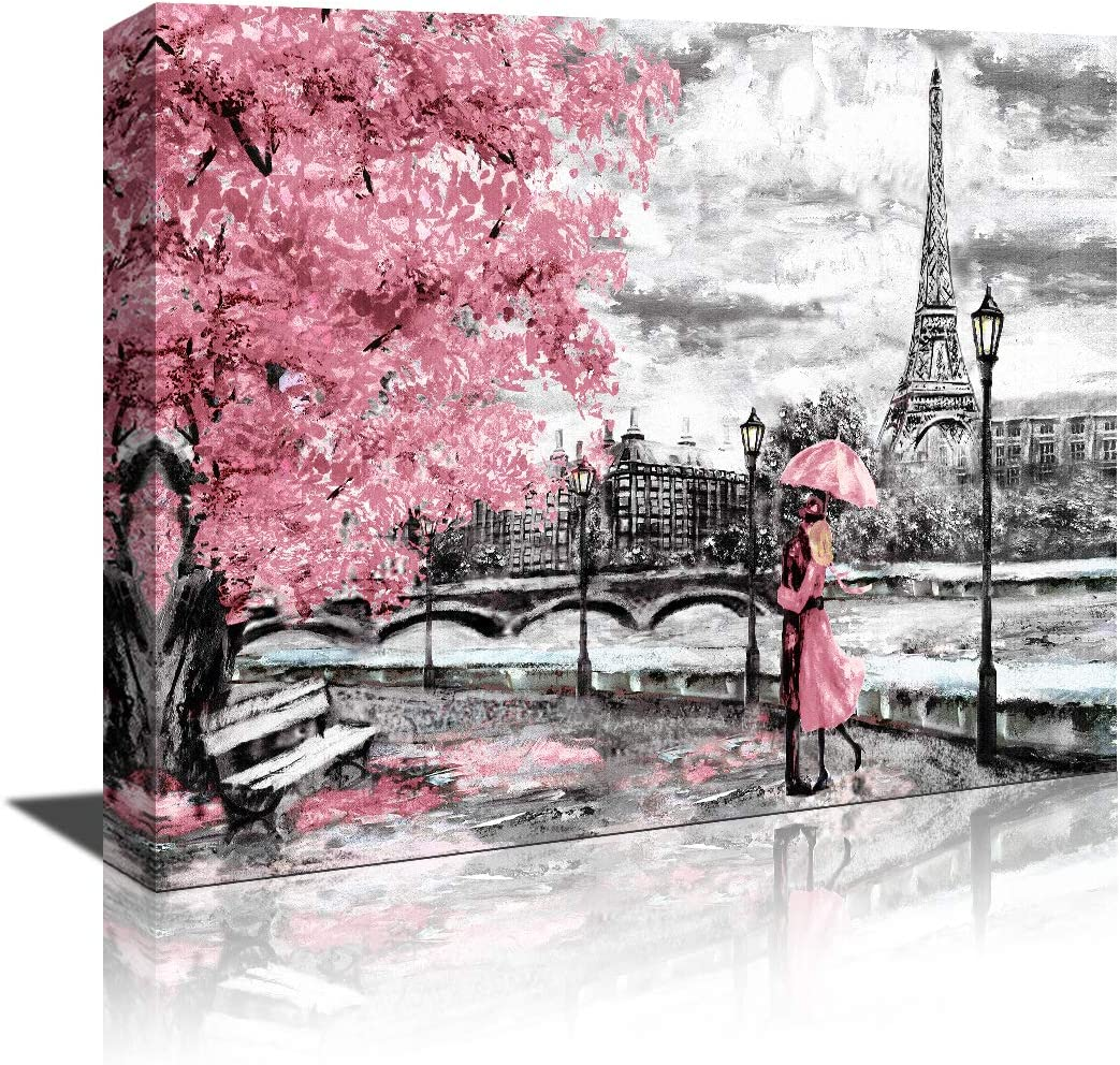 Canvas Wall Art Black White and pink Umbrella Couple in Street Eiffel Tower Oil Painting Printed on Canvas Romantic Picture Framed Artwork Prints for Walls Decor