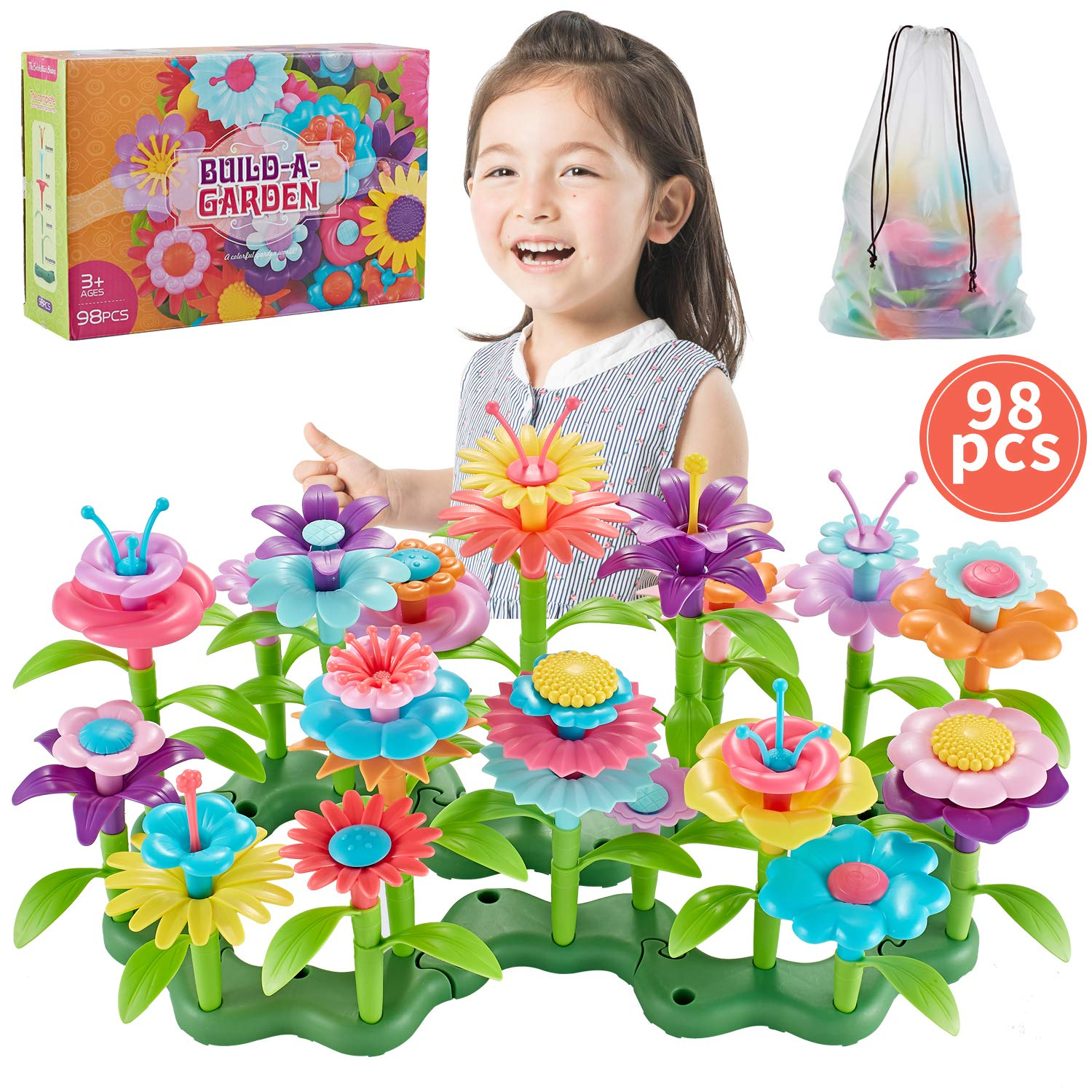 Bu-buildup Flower Building Toys, Garden Building Block, Pretend Gardening Toy, Creative Play Toy, 98 PCS Early Educational Toy, Build a Bouquet Floral Arrangement Playset for Kids Age 2, 3, 4, 5, 6, 7