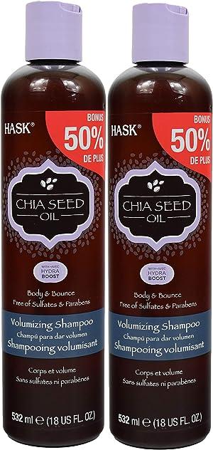 Set of 2 Hask Chia Seed Oil voluminous Shampoo - 18floz Each / 36floz Total - Bonus 50% More!