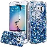 Galaxy S6 Case, Galaxy S6 Liquid Glitter Case,PHEZEN 3D Creative Design Shiny Quicksand Flowing Bling Glitter Sparkle Heart Clear Hard Case for Samsung Galaxy S6 - Blue Diamonds