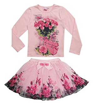 Boutique Outfits Sets Kids Girl Print Floral Long Sleeve Shirts Tops with Tutu Skirt (6T)
