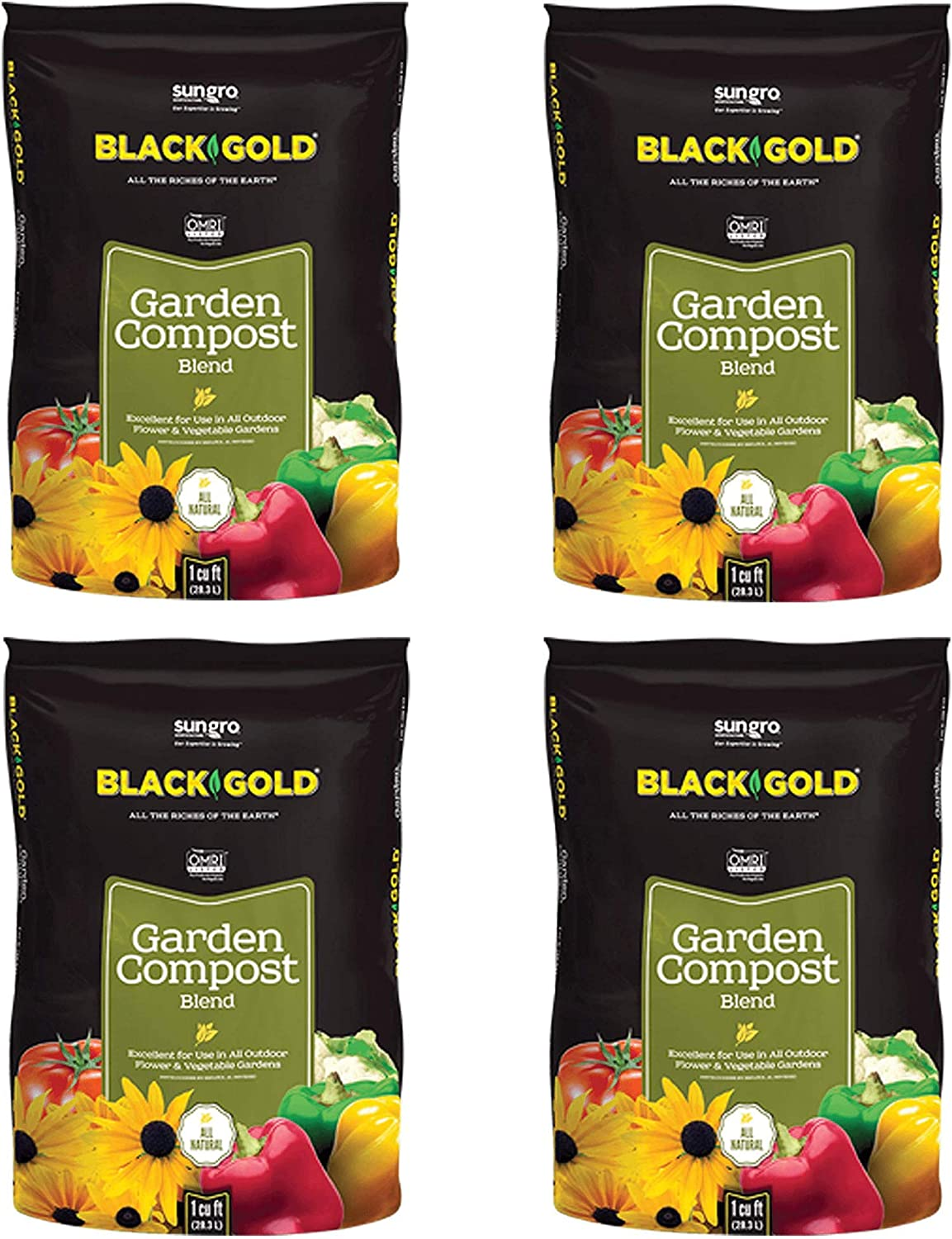 SunGro Black Gold Outdoor Natural and Organic Garden Compost Blend Potting Soil Fertilizer Mix for Outdoor Plants, 1 Cubic Foot Bag (4 Pack)