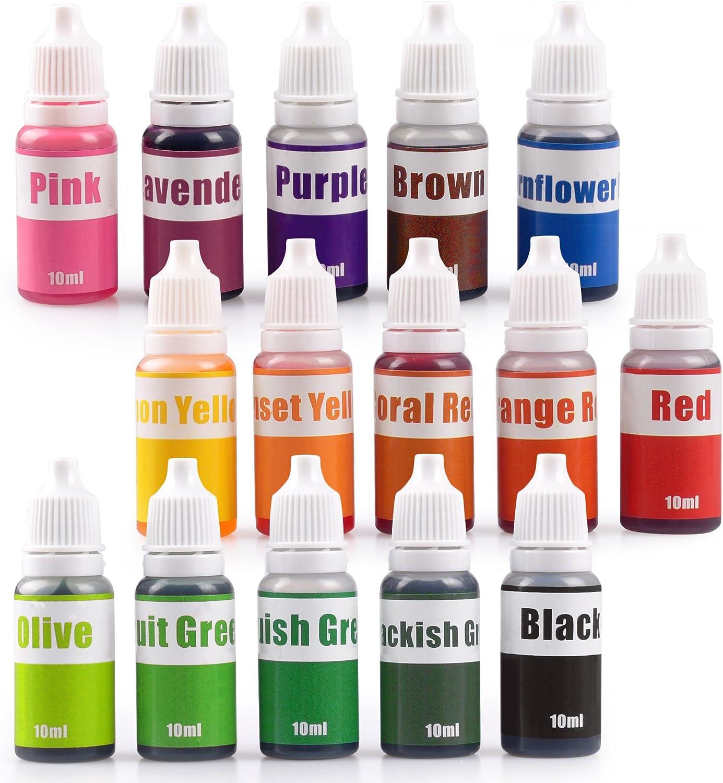 15 Colors Liquid Soap Dye Kit Food Grade Skin Safe (5.3 OZ), New 2021 Liquid Bath Bombs Colorant Set Best Soap Making Supplies (Red Black Pink Brown Lavender Lemon Yellow etc.)